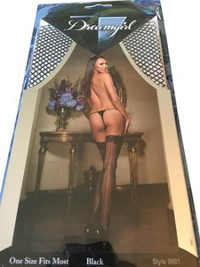 Dreamgirl New Black Net Thigh Highs With Backseam