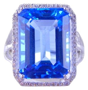 Custom-Made NATURAL BLUE TOPAZ EMERALD CUT RING w/HALO AROUND