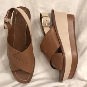 Tory Burch Leather New/nwt Slingback Sandal Brown Ivory Wedges