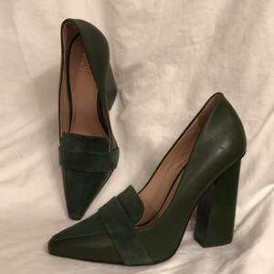 Tory Burch Suede Leather Dark Green Pumps