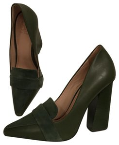 Tory Burch Suede Leather Pointed Toe Comfortable New Green Pumps