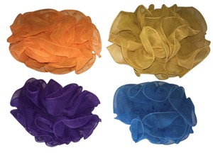4-Hair Clamp Set; Ruffled Chiffon; Turquoise, Orange, Purple & Mustard [ Roxanne Anjou Closet ]