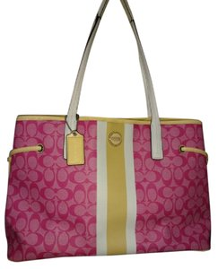 Coach Monogram Yellow White Stripe Tote in PINK