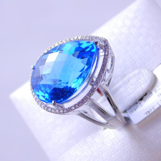 Custom-Made NATURAL BLUE TOPAZ PEAR SHAPE RING w/HALO AROUND