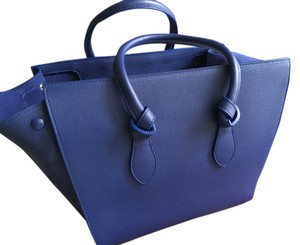 Céline Knot Tie Knot Leather Satchel in Blue
