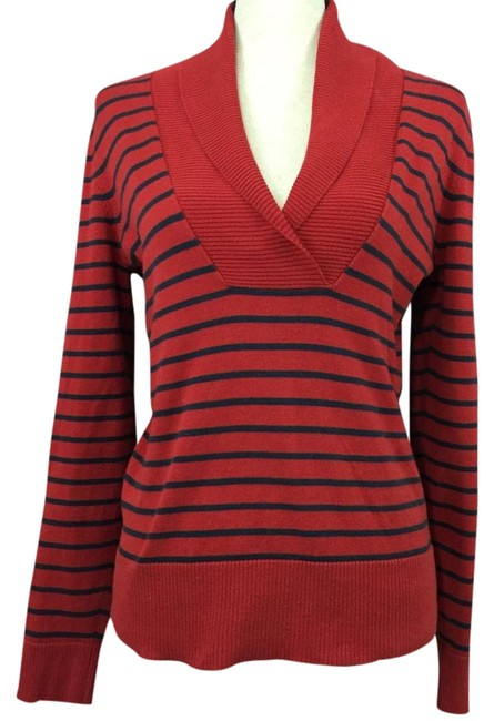 Preload https://img-static.tradesy.com/item/20419905/banana-republic-shawl-collar-striped-red-sweater-0-3-650-650.jpg