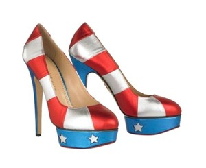 Charlotte Olympia Designer Stripes Red White and Blue Platforms