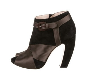Miu Miu Peep Toe Black and Brown Boots