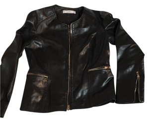MNG. genuine. leather very dark black Leather Jacket