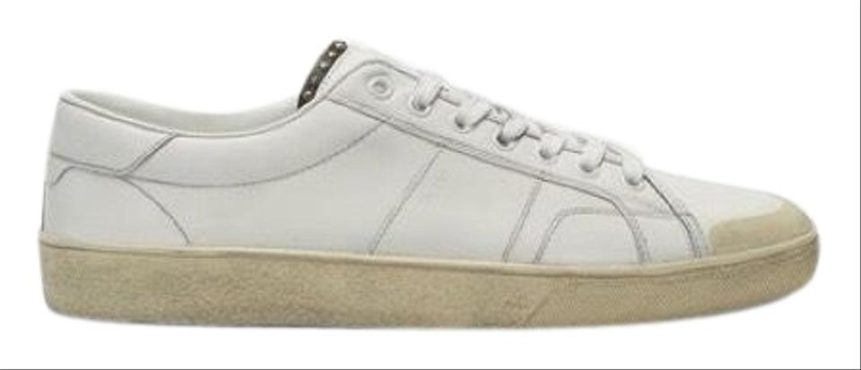 2c5842a6ff0 Saint Laurent Off White Studded Low-top Distressed Men Sneakers Size ...