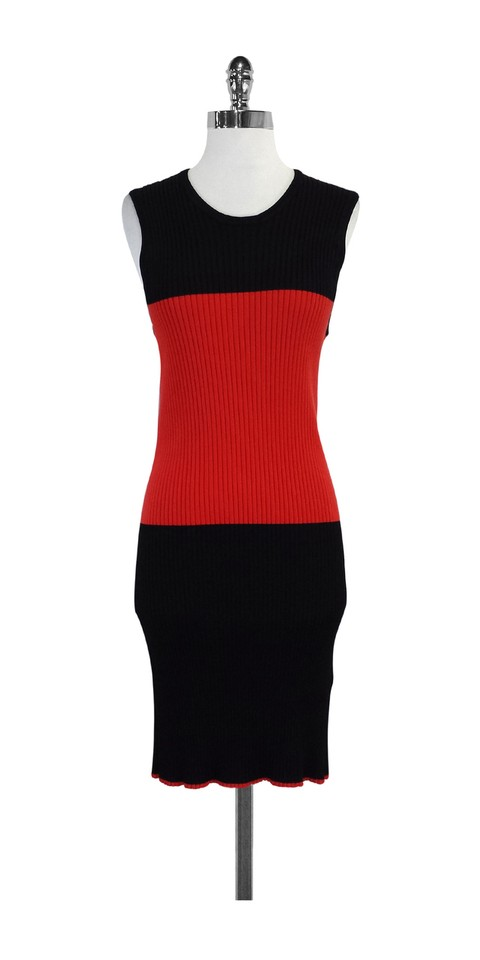 Edun Black Red Striped Colorblock Above Knee Short Casual Dress