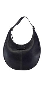Kate Spade Black Leather Cream Stithced Shoulder Bag