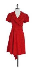 Diane von Furstenberg short dress Red Short Sleeve Wrap on Tradesy