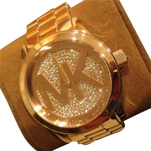 Michael Kors NWT womens rose gold tone glitz runway watch MK5661 $295