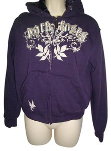 Free Culture Hood Zipper Graphic Emblem Dark Roses Purple Jacket