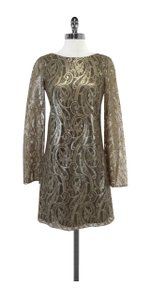 Tibi short dress Gold Metallic Lace Long Sleeve Open Back on Tradesy
