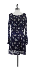 See by Chloé short dress Blue & Cream Floral Silk Long on Tradesy