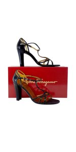Salvatore Ferragamo Black Leather Heels Sandals