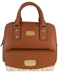 Michael Kors Leather Satchel in Luggage