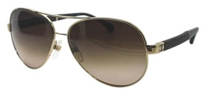 Chanel Chanel 4195Q Pale Gold Aviator Sunglasses Quilted Arms