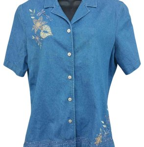 Alfred Dunner Top Denim Blue