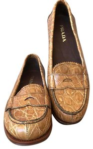 Prada Alligator Loafers Tan Flats