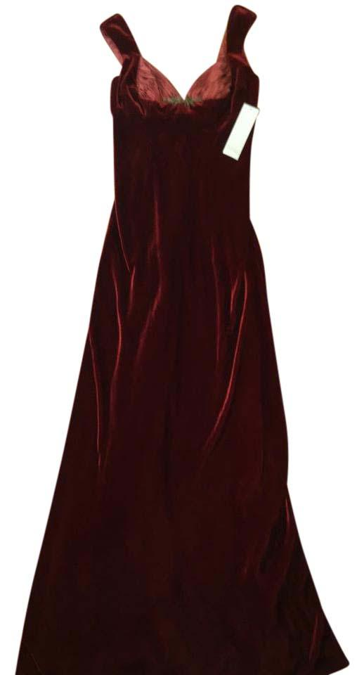 Badgley Mischka Burnt Orange Evening Gown Long Formal Dress Size 4 ...