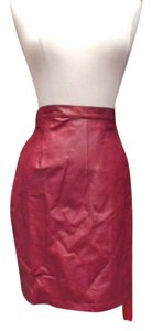 David Benjamin Vintage Leather Skirt Burgundy