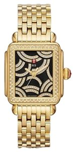 Michele NWT MICHELE LIMITED EDITION Art Of Deco Diamond Gold, Black Diamond Dial Watch