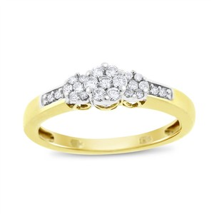 Other 0.30 Ct. Natural Diamond Triple Flower Promise Ring 10k Yellow Gold