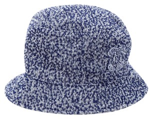 Chanel Slate blue, white woven Chanel interlocking CC bucket hat M