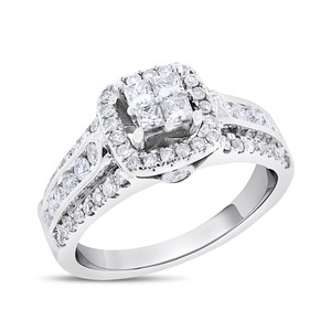 Other 1.05 Ct. Natural Diamond Halo Princess Promise Ring in Solid 14k White