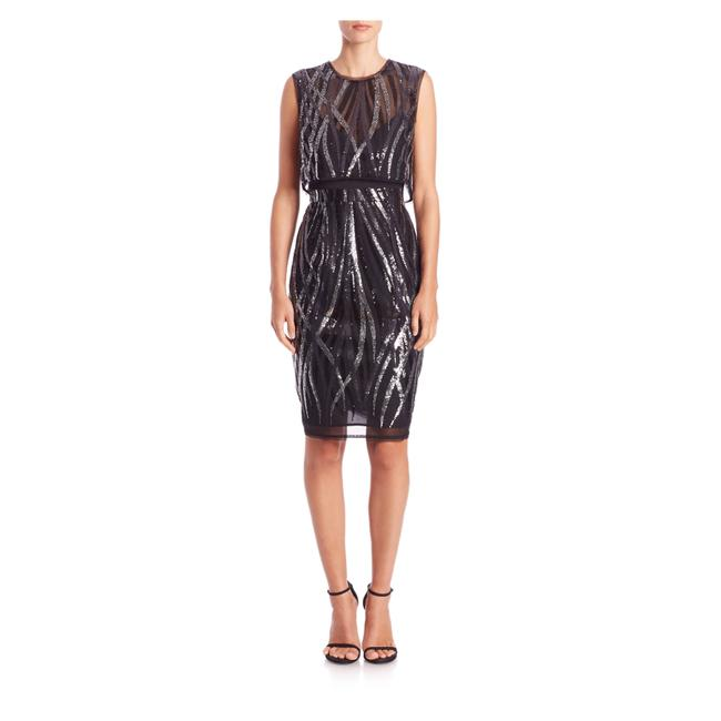Item - Black Silver Mid-length Cocktail Dress Size 2 (XS)