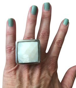 Other White Onyx Sterling Silver & Wood Ring