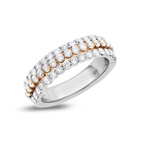 Other 1.50 Ct. Natural Diamond 3 in 1 Wedding Band Ring Solid 14k White/Rose