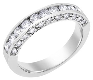 Other 0.80 Ct. Natural Diamond On Side Channel Set Wedding Band 14k White