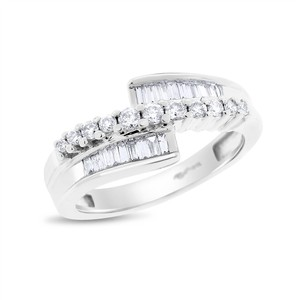 0.50 Ct. Natural Diamond Baguette Round Bypass Fancy Ring Solid 14k