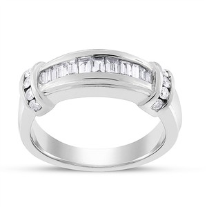 Other 0.50 Ct. Natural Diamond Baguette Anniversary Band Ring 14k White Gold