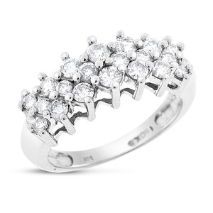 Other 1.00 Ct. Natural Diamond Cluster Cocktail Ring In Solid 14k White Gold