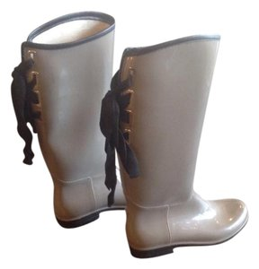 Other Taupe rubber boots with black gross-grain ribbon ties Boots