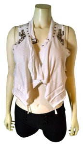 Topshop Cropped Size Medium White Studded Chain Open Front P1256 Top pink, copper