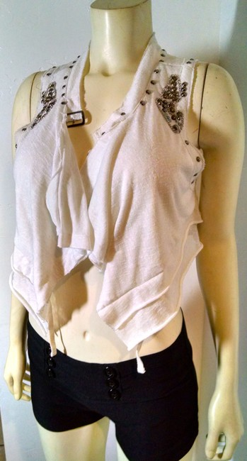 Topshop Size Medium White Studded Top pink, copper