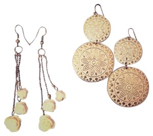 Icing Gold & White Drop Earrings (2 Pairs)
