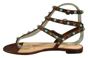 Valentino New Flats T-strap Turquoise Brown Turquoise Sandals
