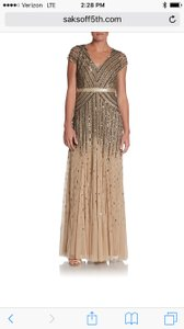 Adrianna Papell Gold Beaded Cap Sleeve Gown Dress