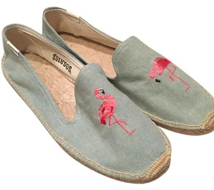 Soludos Light Chambray with Pink Flamingo Flats