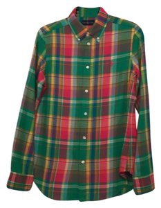 Ralph Lauren Button Down Shirt green with multicolor plaid