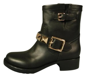 Valentino New Round Toe Low Heel Black Boots