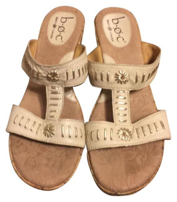 "Børn Light Beige/Silver/Brown 9- B.ø.c. By Leather with Stitching Accents 3"" Cork Wedge Sandals Size US 9 Regular (M, B) Børn Light Beige/Silver/Brown 9- B.ø.c. By Leather with Stitching Accents 3"" Cork Wedge Sandals Size US 9 Regular (M, B) Image 1"