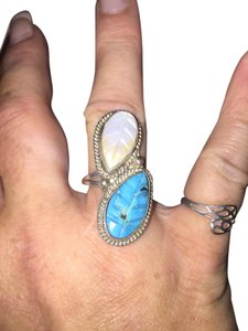 Other Sterling Silver Mother of Pearl and Turquoise Ring Size 7
